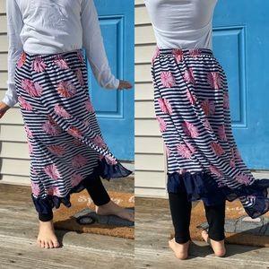 Disney D-Signed   Floral Stripe High-Low Skirt   M